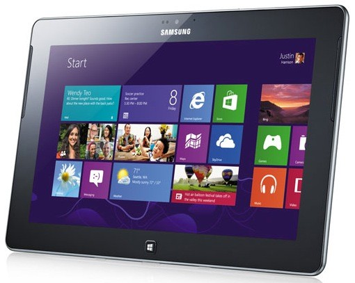 The ATIV Tab runs Windows RT and is visually similar to the Galaxy Note 10.1